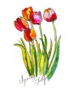 Tulips - Art du Jour by Martha Lever
