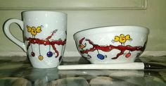 Handpainted Christmas mug and bowl set with cute little birds and ornaments.