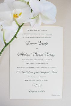 Classic black and white orchid wedding invitation: Photography: K&K Photography - www.kandkphotography.com   Read More on SMP: http://www.stylemepretty.com/2017/03/30/classic-black-white-wedding/