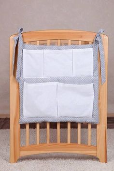 Baby padded Cot Tidy / Organiser 5 Pockets for Nursery Cot/ Cotbed 5 COLOURS