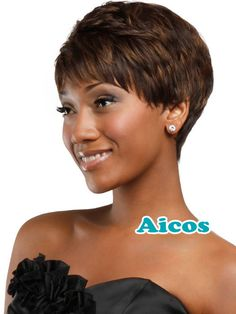 Pixie Cut  Synthetic Wigs Short Hair curly brown Wigs with Bangs for Black Women #Aicos #FullWig