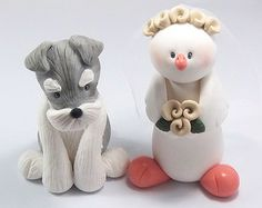 Custom Wedding Cake Topper, Schnauzer and Dove Couple, Personalized Figurines, Made To Order