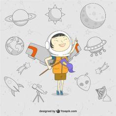 Vector de niño astronauta