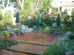 stained concrete patio. Thinking about making a patio instead of a deck...