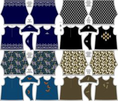 Four Outfit Collection for 18 inch Dolls on a Yard fabric by kdl on Spoonflower - custom fabric
