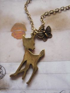 Little Fawn. Bambi Inspired Charm Necklace. by Beadix on Etsy, $7.00