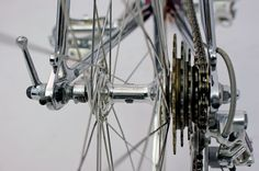 An all alloy version of the Cinelli Bivalent hub with Regina freewheel on a late 1960's Cinelli Super Corsa.