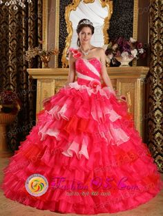 Beautiful One Shoulder Colorful Hand Made Flowers Decorate and Ruffles Layered For Ball Gown For 2013 Spring Quinceanera  in  Carmelo Urugua...