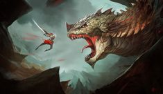 Monster Hunter Picture  (2d, illustration, monster, dragon, warrior, battle, fantasy)