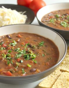 Veggie-packed slow cooker black bean soup - from @Christina Childress Childress & Dezuanni @ Amuse Your Bouche (I would use whole, dried black beans-no canned)