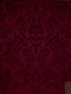 Designer Wallcoverings and Fabrics Senor Skullingwell - Flock Velvet - Burgundy Red / Raisin : Designer Wallcoverings, Specialty Wallpaper for Home or Office Velvet Wallpaper, Gothic Wallpaper, Red Wallpaper, Home Wallpaper, Tropical Wallpaper, Wallpaper Ideas, Burgundy Walls, Burgundy Wine, Burgundy Color