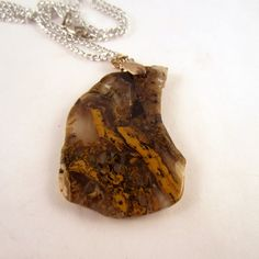 Agate  Necklace: rock Pendant,Agate gemstone by mountainrockngem on Etsy