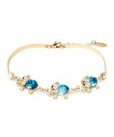 Another great find on #zulily! Aquamarine & Gold Elephant Bracelet With Swarovski® Crystals #zulilyfinds