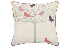 Tweeter Silver 18x18 Pillow, Off-White on OneKingsLane.com Love the bird print