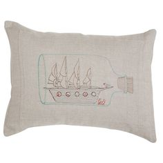 linen ship in a bottle pillow #projectnursery #franklinandben #nursery