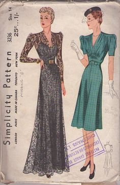 "Simplicity 3236 from 1939 (My note: I have the dress to the right thanks to Heyday Vintage who's ""Mary"" dresses are spot on for this exact style! Even the same colour (Jungle green))"