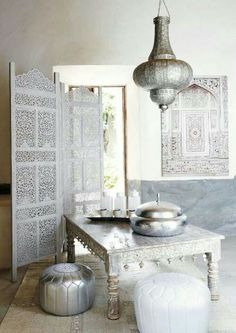 Monotone color palette allows the Moroccan patterns and shapes to speak.