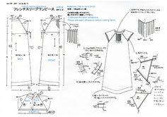 Free-cucito-modello-Francese-Sleeve-grembiule-Dress-giapponese-Traduzione