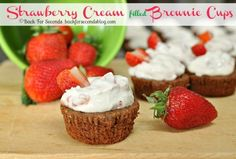 Cupcake Recipes : Strawberry Cream Filled Brownie Cups