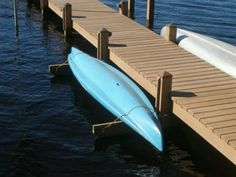 Kayak Rack Kayak or canoe rack. Build this beside the dock. Lake Dock, Boat Dock, Canoe Storage, Fishing Storage, Haus Am See, Floating Dock, Kayak Rack, Lakefront Property, Lake Cabins