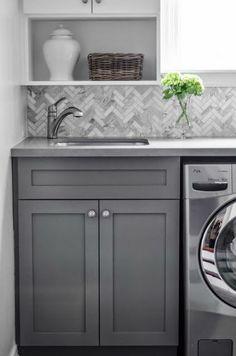 Laundry Room | bluegrass + boxwood; love the herringbone backsplash