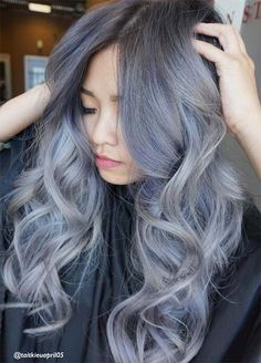 Granny Silver/ Grey Hair Color Ideas: Blue Silver Wavy Hair