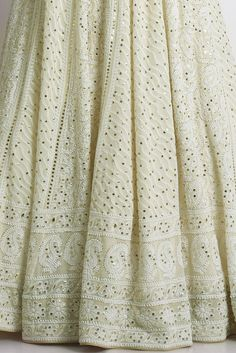 Ivory Chikankari & Kamdani Embroidered Pure Georgette Lehenga Outfit Indian Wedding Outfits, Indian Outfits, Lucknowi Kurta, Patiala, Manish Malhotra Bridal, Wedding Lehenga Designs, Kurta Patterns, Embroidery Suits Design, Indian Designer Suits
