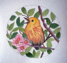 Handpainted Needlepoint Canvas Yellow Warbler