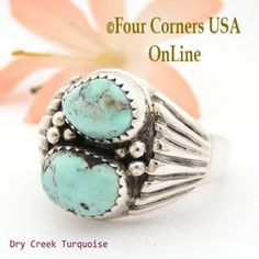 Dry Creek Turquoise Mens Ring Size 11 Navajo Artisan Aaron Toadlena Four Corners USA OnLine Native American Silver Jewelry NAR-13024