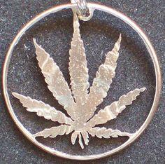 Cannabis Leaf Hand Cut Coin Jewelry