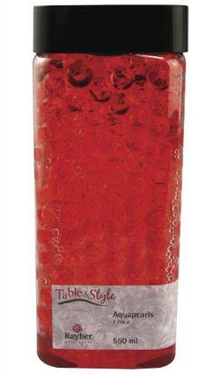 Rode aqua pearls in doosje  Rode aqua pearls 1 cm. Doosje met 550 ml aqua pearls in rode kleur. De aqua pearls hebben een formaat van ongeveer 1 cm. Leuk om vazen schalen en ander vaaswerk te decoreren. Geschikt voor verse bloemen en als de parels krimpen kunt u vers water toevoegen. Let op! De kleur kan afgeven.  EUR 5.50  Meer informatie
