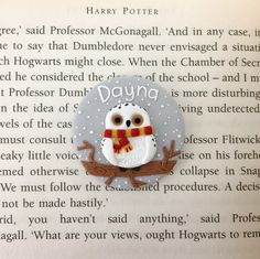 Nurse Name Badge - Hedwig from Harry Potter Polymer Clay Projects, Handmade Polymer Clay, Clay Ornaments, Christmas Ornaments, Nurse Name Badge, Personalised Badges, Clay Owl, Potters Clay, Name Badges