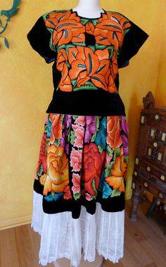 Mexican Embroidered Skirt Tehuana Black Velvet by LivingTextiles, $550.00