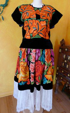 Mexican Embroidered Skirt Tehuana Black Velvet by LivingTextiles, $550.00
