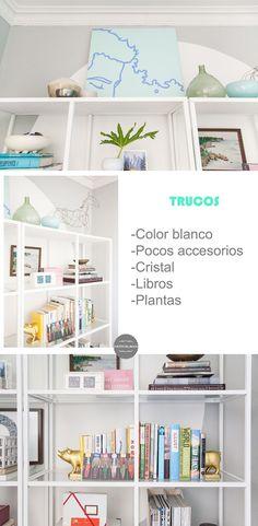 Trucos para decorar una estanteria http://www.decoracionpatriblanco.es/2016/07/re-decorando-un-comedor-usando-el-color.html