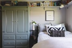 Making The Most of A Small Bedroom on the west elm blog. Small space tip: adding a high bookshelf means plenty of storage without making the room feel cluttered!