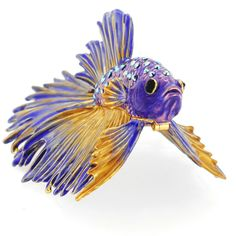 Purple Crowntail Betta Fish Trinket Box With Swarovski Crystal - Fantasyard Costume Jewelry u0026 Accessories  sc 1 st  Pinterest & Feathers like these might provide a floaty betta fish look ...
