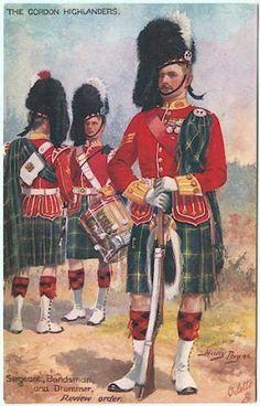 Gordon Highlanders - Review Order    Sergeant, Bandsman and Drummer    Harry Payne, Signed artist