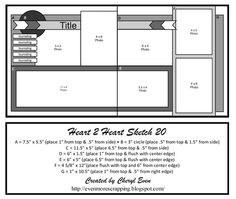 Heart 2 Heart Challenges: H2H Scrapbooking.  Lots of layouts with measurements and all