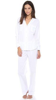 Salua Classic Cotton Pajama Set - Pale blue trim