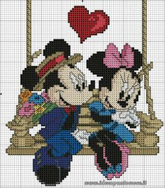 Mickey & Minnie on wooden swing - Cross-stitch graph Disney Cross Stitch Patterns, Cross Stitch For Kids, Cross Stitch Love, Cross Stitch Charts, Cross Stitch Designs, Mickey E Minie, Mickey Mouse, Disney Stitch, Cross Stitching
