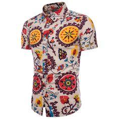 b23cdedf79b Men s Casual Shirts Short-Sleeve 2018 Summer Hawaiian Shirt Skinny Fit with  Various Pattern Man Big Sizes Clothes