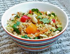 """This Thai-style quinoa cashew salad is tossed with a """"peanut sauce"""" dressing made from almond butter instead of using peanuts."""