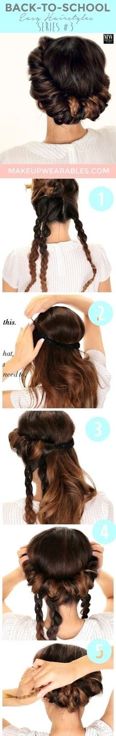 WE HEART IT: Minute Braided Headband # Updo # Hairstyle