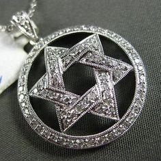 ESTATE LARGE .49CT DIAMOND 18KT WHITE GOLD 3D STAR OF DAVID FILIGREE PENDANT