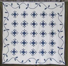 Fabulous Antique c1880 Indigo Blue & White Applique QUILT Honeybee w/ Vining Border, eBay, vintageblessings