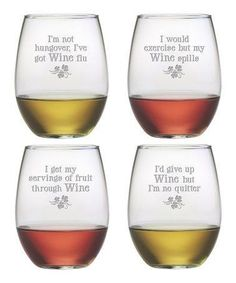 We can always justify a glass of wine, anytime. Add some fun to your next party with these Wine Justification stemless wine glasses.
