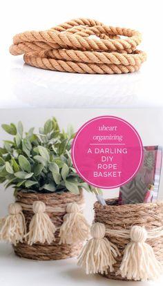 DIY: Cesta rústica de cuerda - iheartorganizing.com - DIY Rope Basket