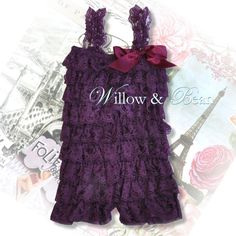 Plum Lace Petti Romper for Baby Girls and Toddlers...Girls Ruffle Romper, Eggplant Lace Petti Romper on Etsy, $15.00