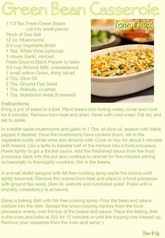 Green Bean Casserole is such a classic Holiday feast option. This one is healthy and Tone It Up Nutrition Plan Approved!